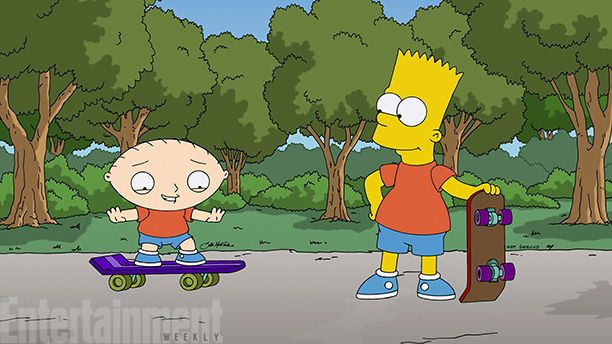 Stewie Griffin and Bart Simpson chill out, dude.