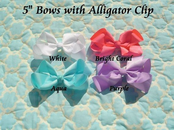 Set of TWO 5 inch hair bows attached to an alligator clip on Etsy, $3.99