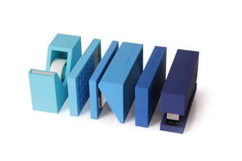 Lexon LD120B Büro-Accessoire-Set, Hefter, Klebebandabroller, Locher, ABS/Gummi, 14,5x22x8cm, Blau