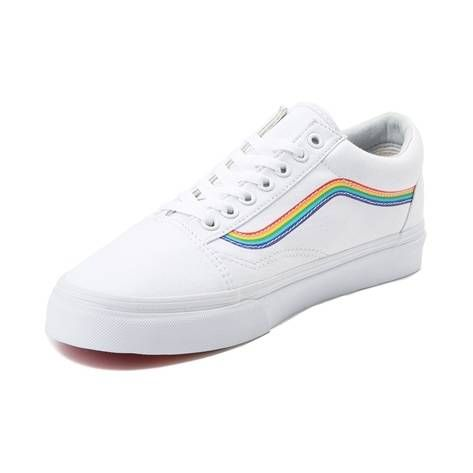 dbab2824c9bb Vans Old Skool Rainbow Skate Shoe - White - 497266