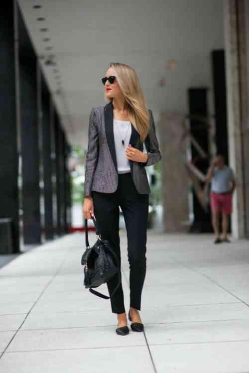 tailleur femme élégant en noir et gris