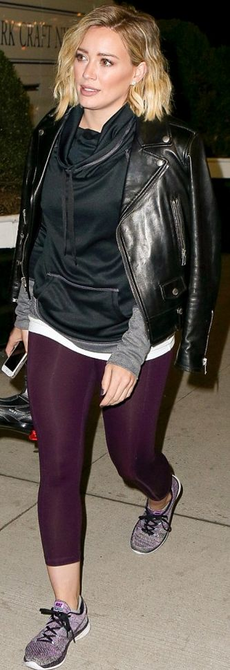 Who made Hillary Duff's purple sneakers, capri pants, hoodie, and black leather jacket?