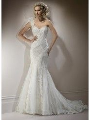 Lace Sweetheart Neckline Fit and Flare Mermaid Wedding Dress