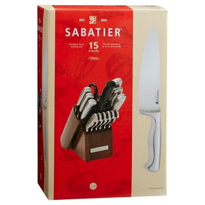 Sabatier 15 Piece Stainless Steel Hollow Handle Traditional Knife Block Set, Silver