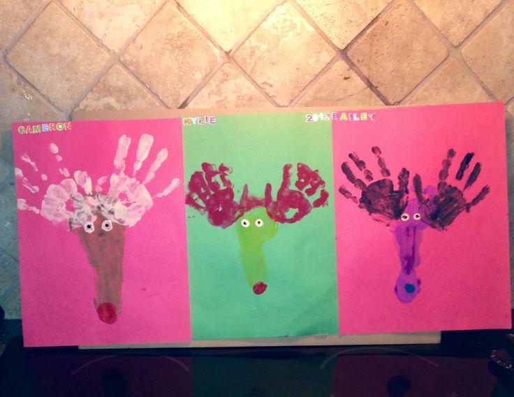 Kids Christmas DIY craft 2013 hands and feet# Cameron, Kylie, bailey