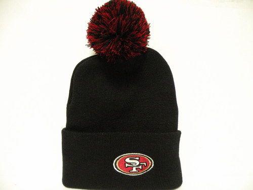 NFL San Fransisco 49ers Team Logo Classic Black Cuffed Knit Beanie Cap with Pom