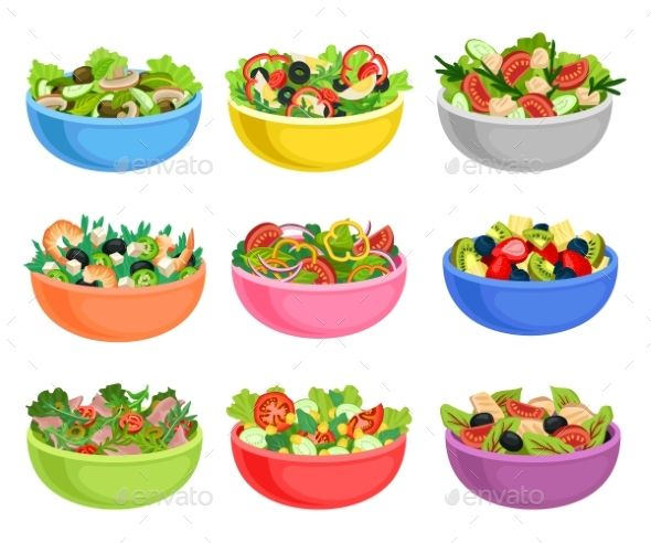 Flat Vector Set Of Vegetable And Fruit Salads Food Icons Food Clipart Organic Recipes Healthy