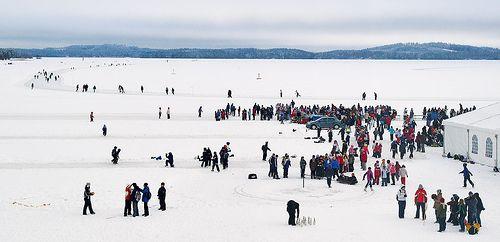 Finland Ice Marathon on lake Kallavesi near Kuopio harbor.