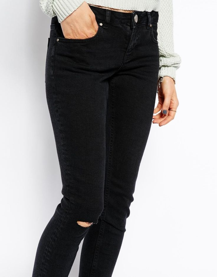 Washed Black Ripped Skinny Jeans