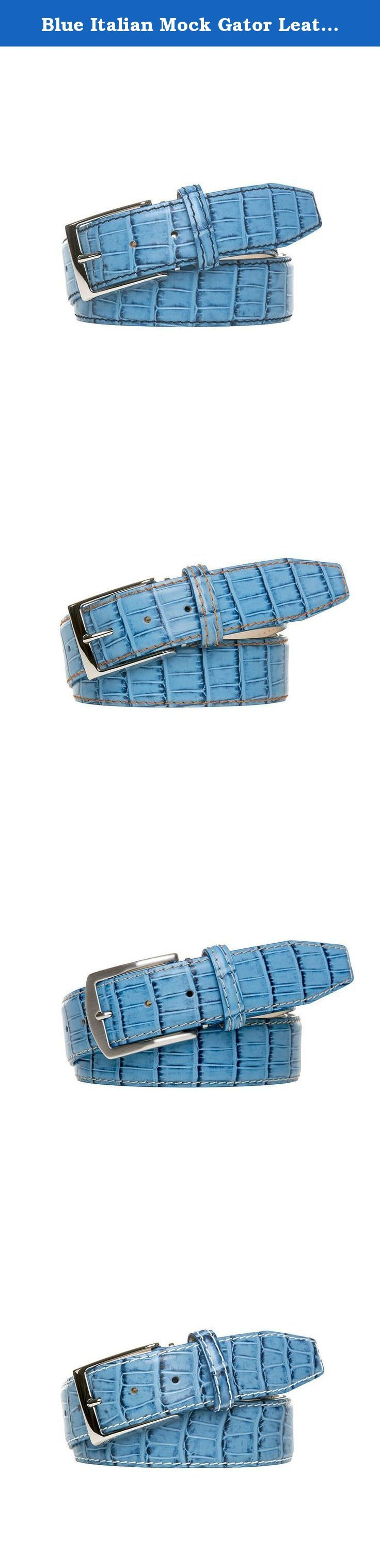 Blue Italian Mock Gator Leather Belt. Made from 100% Italian Calf Leather and handmade to order. All of our leather products are made in the USA. Each belt is designed with a Nubuck lining and solid brass palladium buckle to ensure extra durability. In addition, each belt comes with a signature travel bag to store your belt in.
