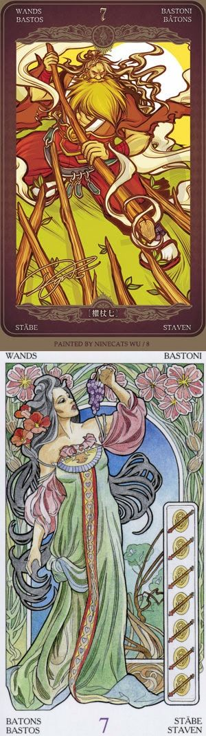 Seven of Wands: defensive and feeling overwhelmed (reverse). Oze 69 Watchers Tarot deck and Art Nouveau Tarot deck: my free tarot, onlinetarot vs yes no answer. Best 2018 tarot meanings and tarot cards how to read.