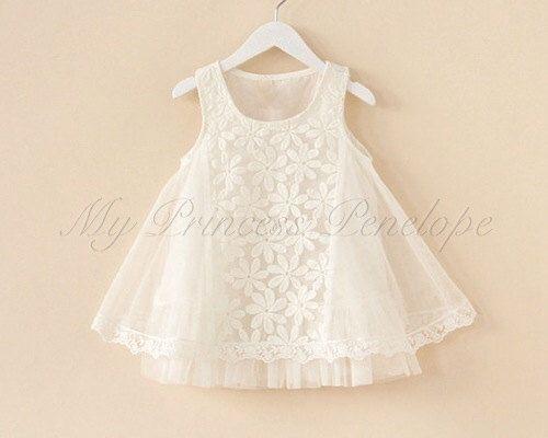 Girls white flower lace tutu princess dress - Perfect for flower girl, wedding, christening by MyPrincessPenelope on Etsy https://www.etsy.com/listing/193850681/girls-white-flower-lace-tutu-princess