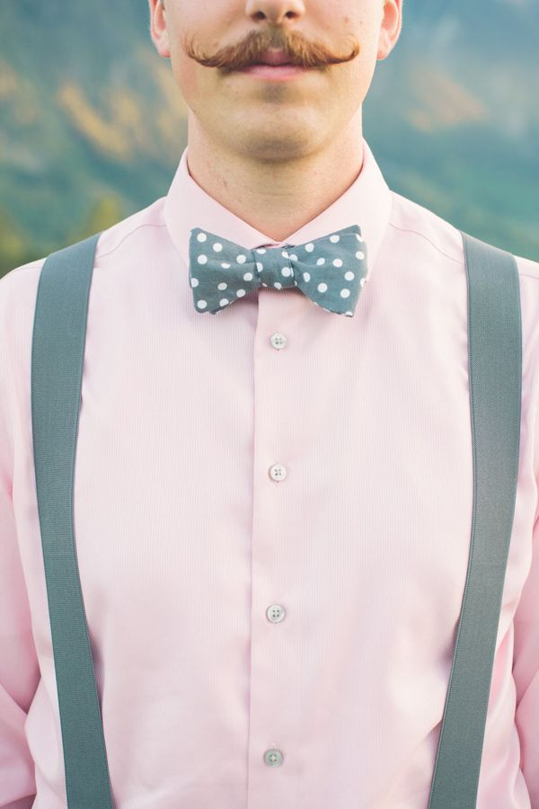 polka dot bow tie! photo by The Nickersons http://ruffledblog.com/north-arm-farm-wedding #grooms #bowties
