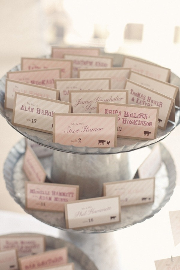 Different fonts for place cards.