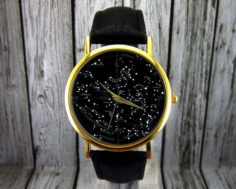 Vintage Constellation Watch | Leather Watch | Ladies Watch | Mens Watch | Gift Idea | Custom Watch | Fashion Accessory | Northern Hemisphere by RedJuanShop on Etsy https://www.etsy.com/listing/223881402/vintage-constellation-watch-leather