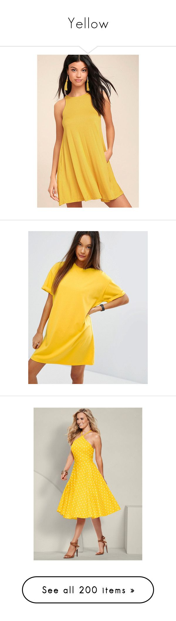 """Yellow"" by ultimateginger ❤ liked on Polyvore featuring dresses, yellow, round neck dress, jersey fabric dress, trapeze dress, bee print dress, sleeveless dress, night out dresses, party dresses and going out dresses"