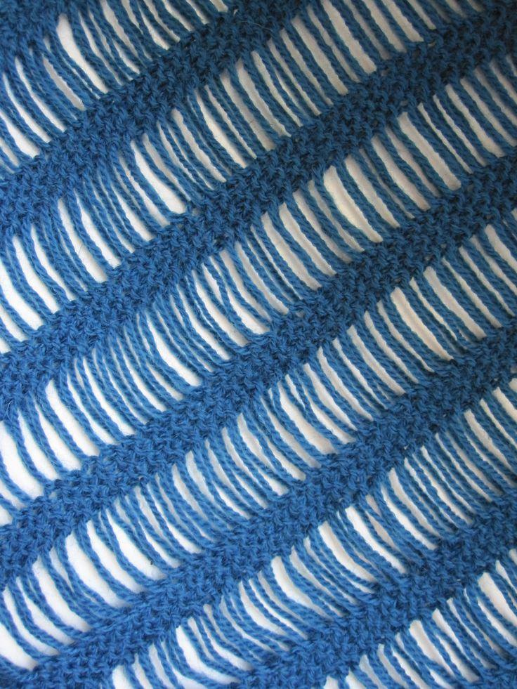 running stitches in plain knit shawl
