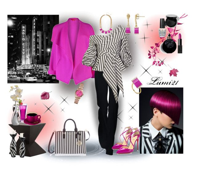 stripes by lumi-21 on Polyvore featuring Johanna Ortiz, Shamask, Christian Louboutin, Henri Bendel, Octium, Michael Kors, BaubleBar, NARS Cosmetics, Bobbi Brown Cosmetics and Valentino