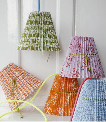 DIY wallpaper lampshades