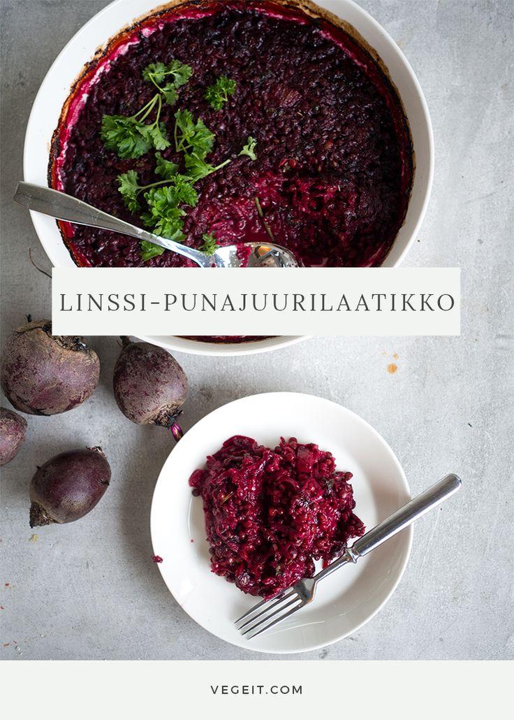 Terveellinen ja herkullinen punajuuri-linssivuoka sopii vegaaniseen (tai jokaiseen!) joulupöytään tai pimeisiin talvi-iltoihin.