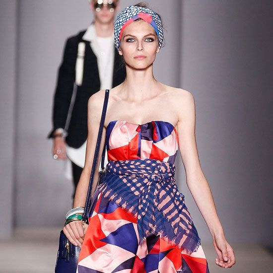 """2013 Spring New York Fashion Week: Marc by Marc Jacobs: Let's talk positive: the Marc by Marc Jacobs show was about as upbeat as you get, with models in bright layers right up to their patterned turbans bouncing down the runway to the tune of """"Can't You Feel It"""" by Time. If you love colour and pattern, MMJ Spring 2013 will be at the top of your Spring shopping list. Check out all the pictures from the Marc by Marc Jacobs Spring 2013 collection, and come back soon for our full review."""