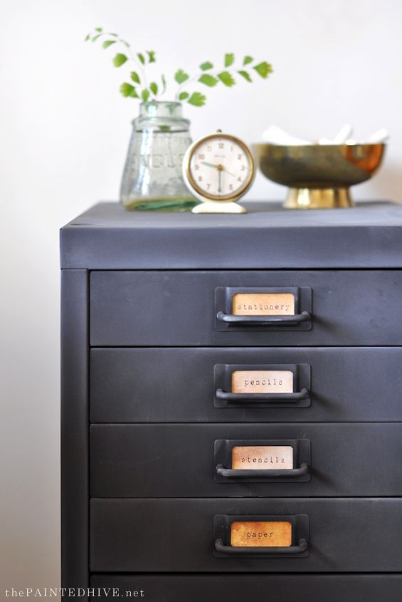 Chalkboard paint filing cabinet hack | The Painted Hive