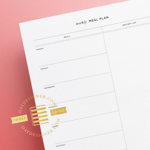 Weekly Meal Planner Printable. I still love to make written lists! Follow link for more free downloadable lists!