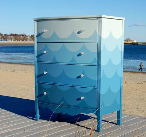 Waves Dresser - DIY painting project for a kid's dresser - just buy 1 color + 1 white and make mixes :) compare to paint chips to match colors