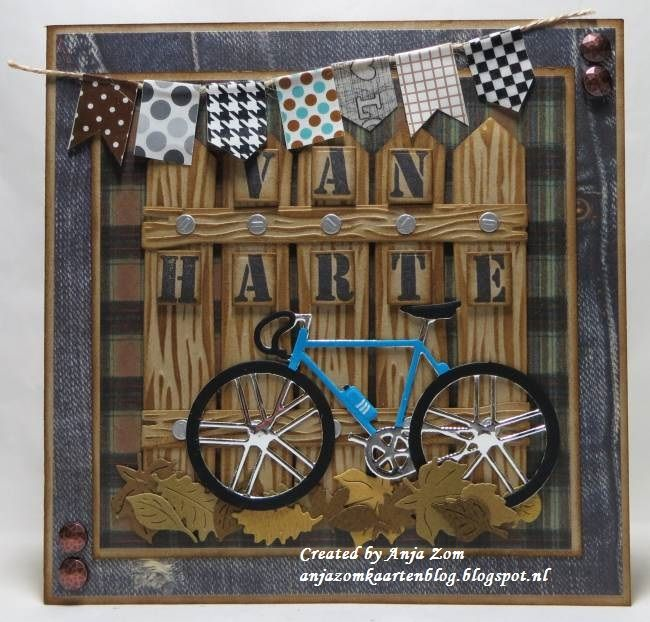 Handmade card by DT member Anja with Collectables Stamp Alphabet (COL1396), Craftables Punch die - Autumn Leaves (CR1336), Craftables Wood (CR1348) and Creatables Bicycle (LR0394) from Marianne Design