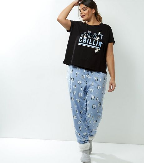 Curves Pale Blue Just Chilling Penguin Pyjama Set | New Look