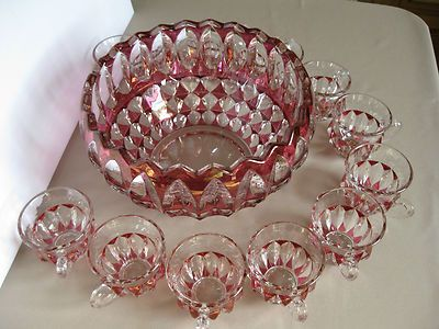 Indiana Glass Pattern 1007 Cranberry Stain Leaf Punch Bowl Set USA | eBay