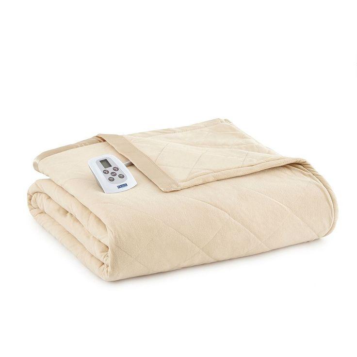 Micro Flannel® Electric Heating Blanket, Beig/Green (Beig/Khaki)