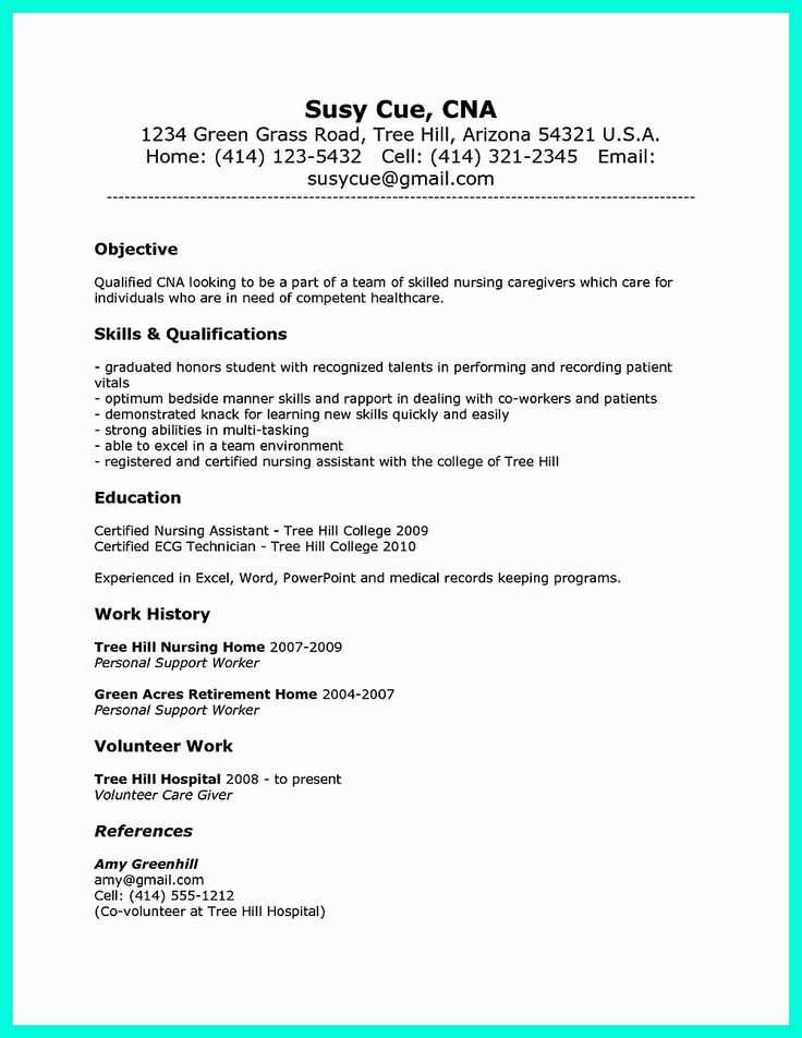 73 best resume images on Pinterest Gym, Personal development and - cna resumes samples
