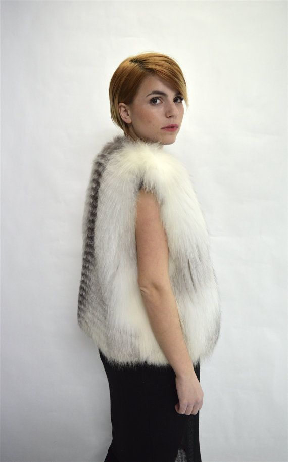 SALES.White fox fur vest real platinum fox full skin by BeFur