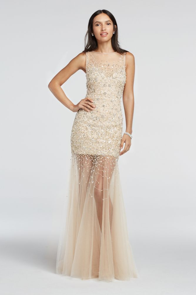 2fe7ca3b3a1 Bead Embellished Illusion Tulle Prom Dress - Nude
