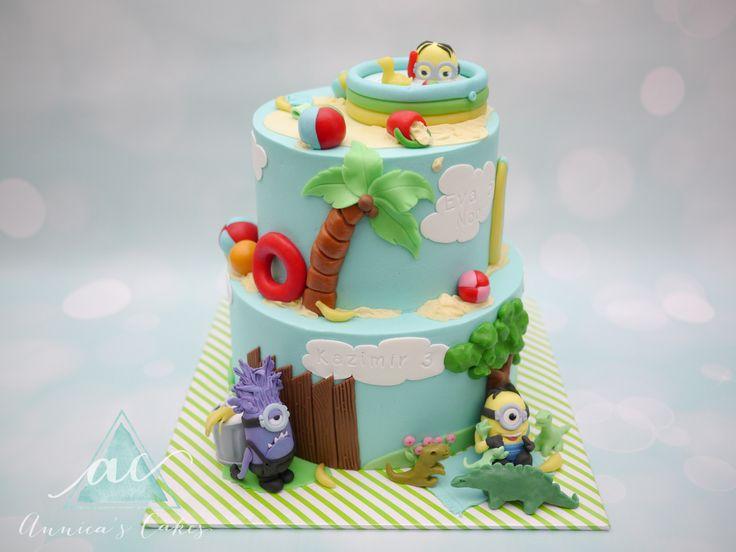 Minion taart zwembad en dino's