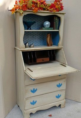 Vintage Secretary Desk with Hutch, Shabby chic secretary desk, Secretary Desk, Painted retro secretary desk, desk with hutch, OOAK desk by GroovyRejuvy on Etsy