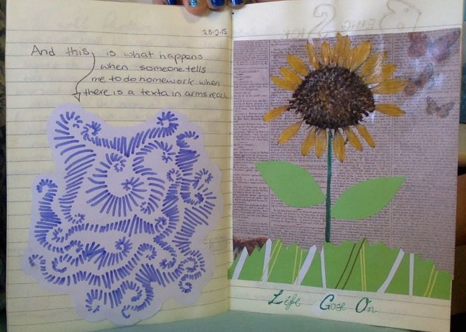 i found a real sun flower so i pressed it and stuck it in my journal :)