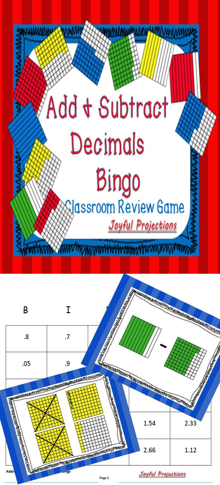Students will complete the addition or subtraction operation on the projection and then cover the correct answer on their Bingo cards. My students beg to play, and while playing they'll complete more decimal operations in this simple game than they would on any worksheet. After playing Bingo once, a few days later we review again by racing to find answers. Both ways are a great review of adding and subtracting decimals!