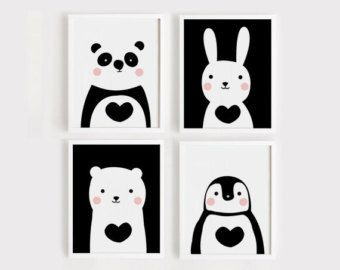 Printables kwekerij Art Set van 3 schattige dieren art print