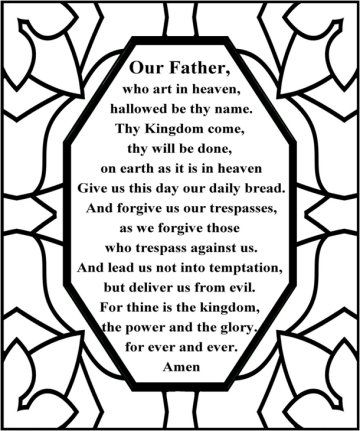 The Lords Prayer English Stain Glass Symmetrical Colouring