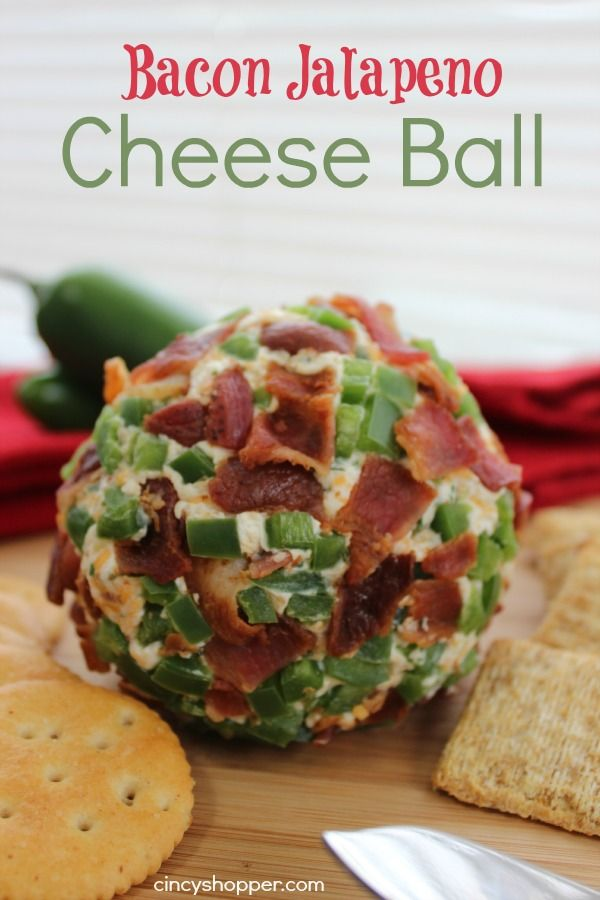 Bacon Jalapeno Cheese Ball- perfect for entertaining during the holiday season. We make this one for Super Bowl!