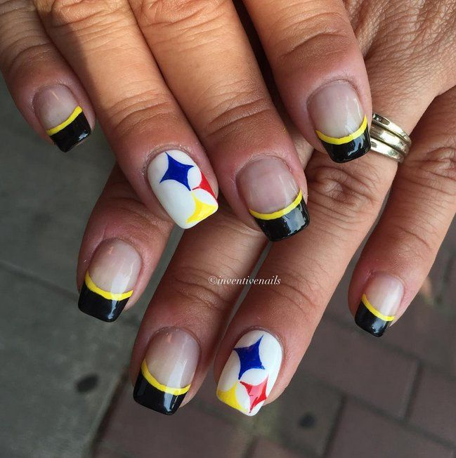 Pin for Later: 30 Super Bowl Nail Art Ideas That Are Major Wins Steelers Swag