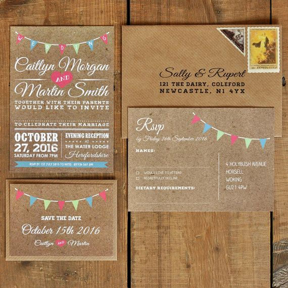 Vintage Bunting Kraft Effect with White Text  by FeelGoodInvites