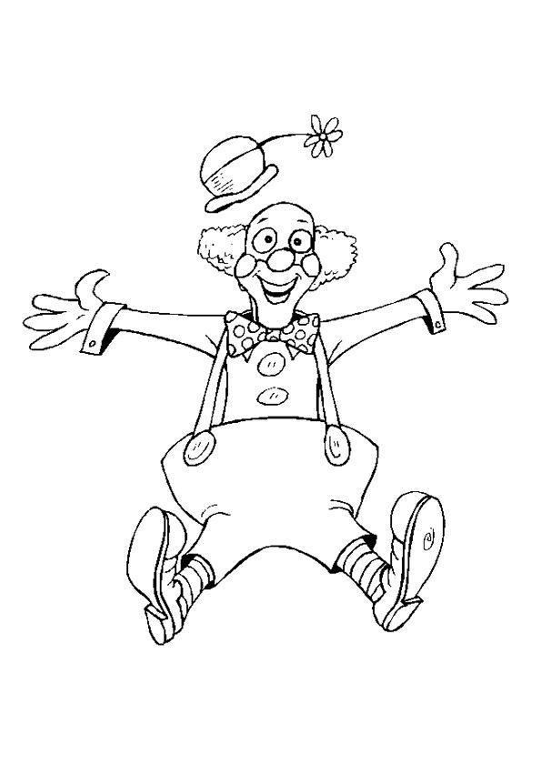 Un Dessin De Clown Qui Saute Dans Les Airs A Colorier Pour Samuser