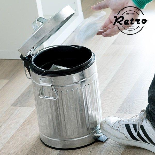 #Retro #Mülleimer mit #Pedal und #Henkeln #Abfall #Entsorgung #Küche #Deko