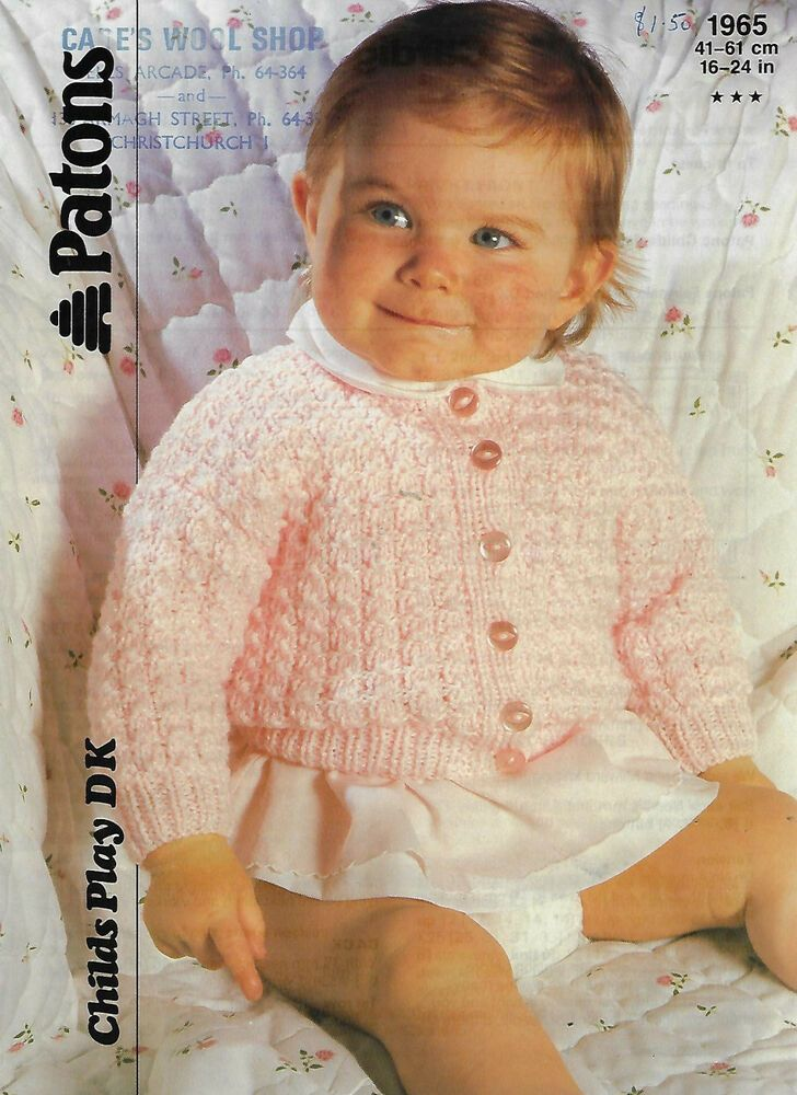 Patons Knitting Pattern For Baby's Cardigans To Fit 16-22 Inch Chest