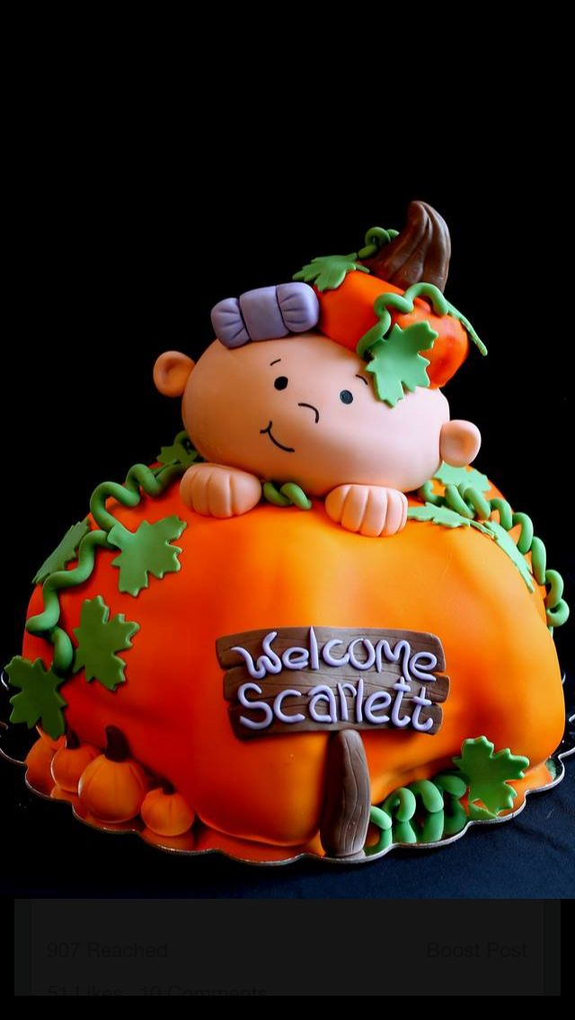 Welcome Scarlett October baby shower cake. Pumpkin/baby cake. Renee's WICKED GOOD Cakes - like us on facebook!  Follow us on instagram @renees_wicked_good_cakes