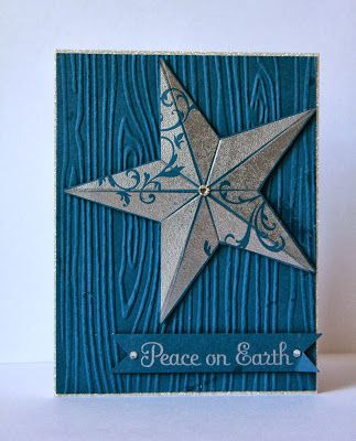handmade Christmas card ... silver and blue ... woodgrain embossing folder background ... dimensional folded star ... like the clean leans along with lots of texture ... Stampin' Up!