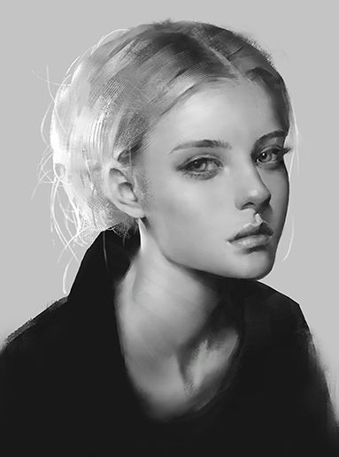 Photo Study 2 - Black and white digital portrait painting by Roro Zhu